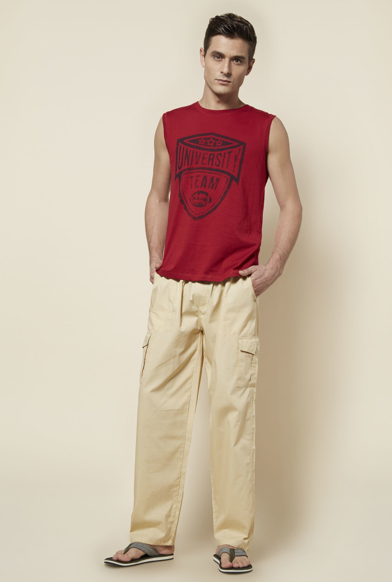 Zudio Red Printed Cotton T Shirt