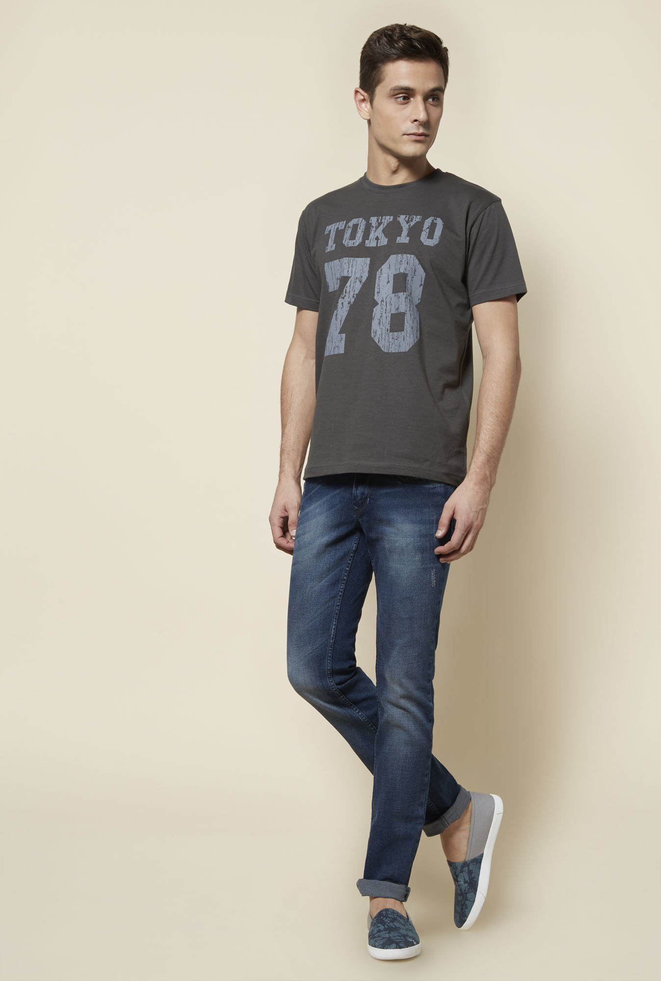 Zudio Grey Cotton Printed T Shirt