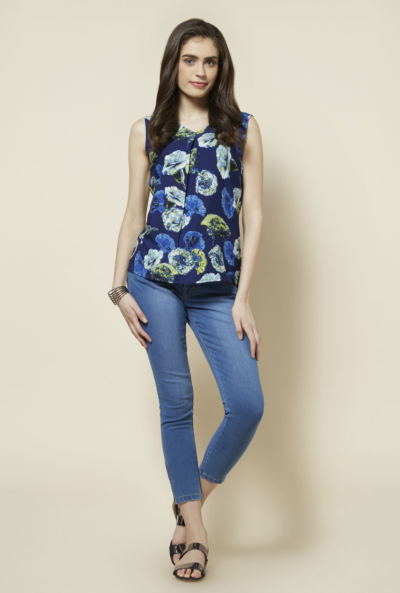 Zudio Navy Floral Printed Betsy Blouse