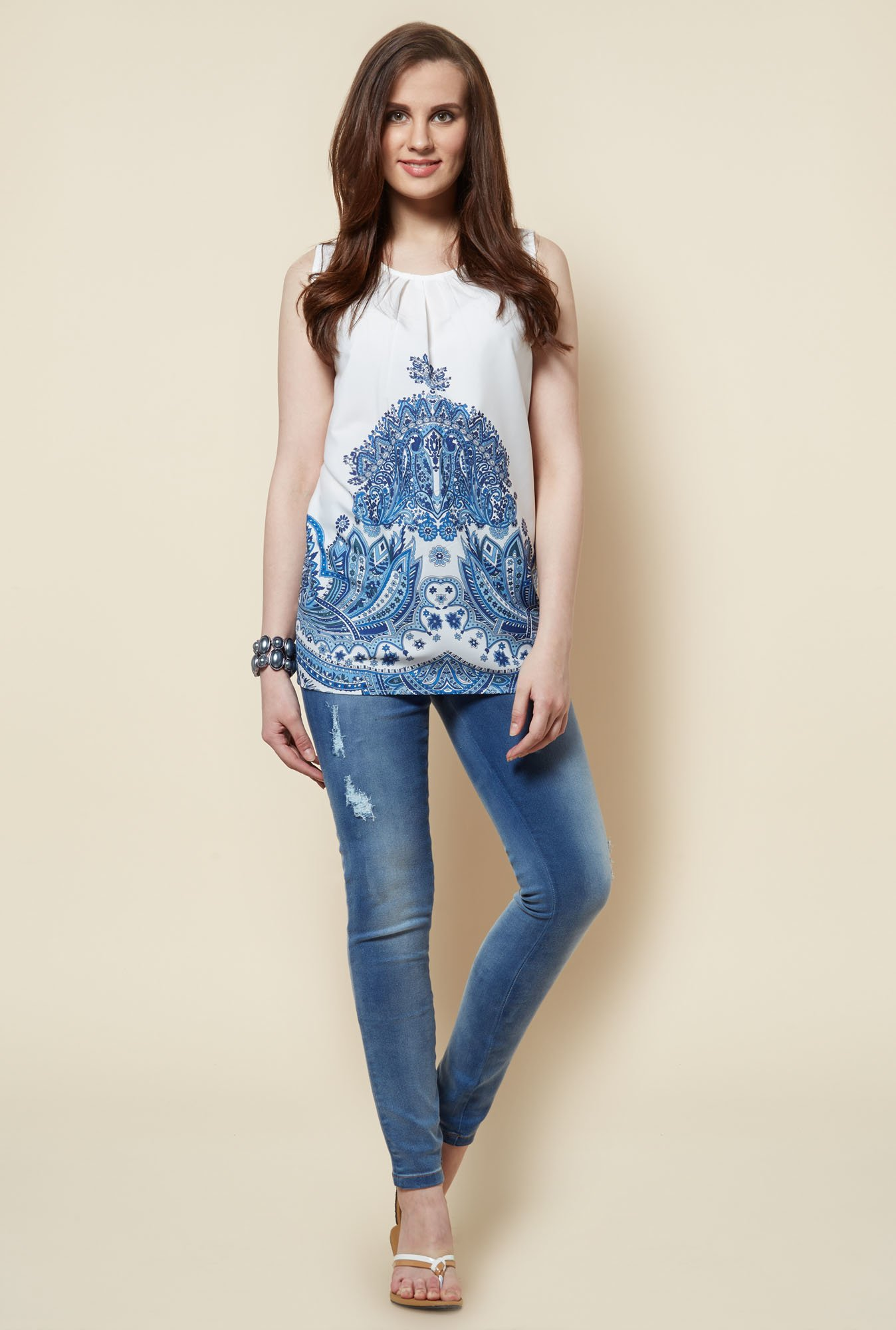 Zudio White Paisley Printed Amy Blouse