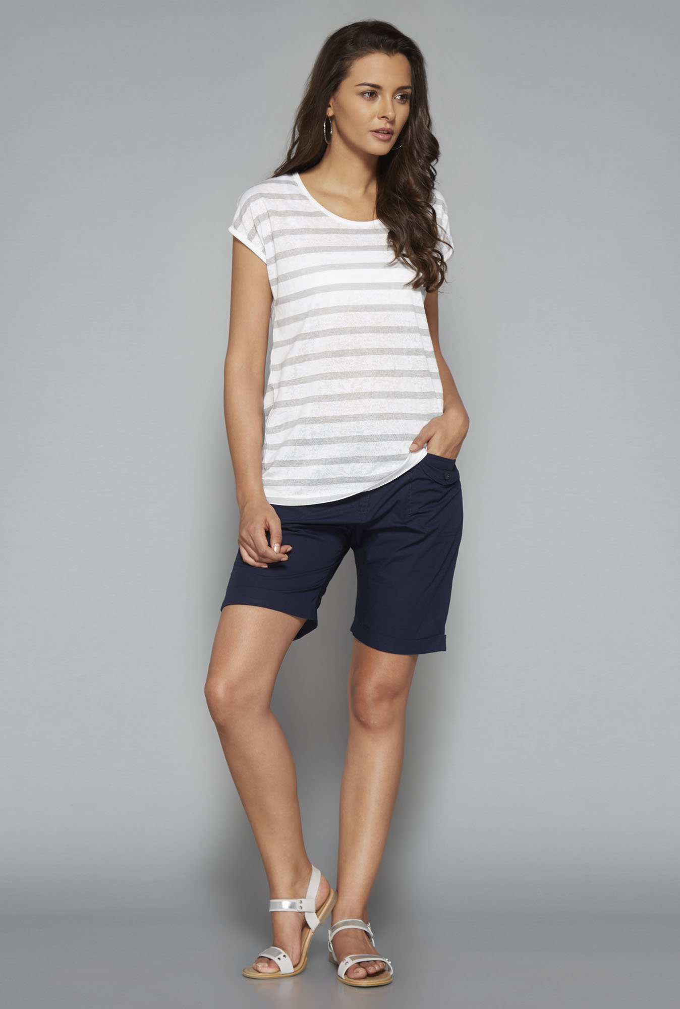 LOV White Striped Round Neck T Shirt