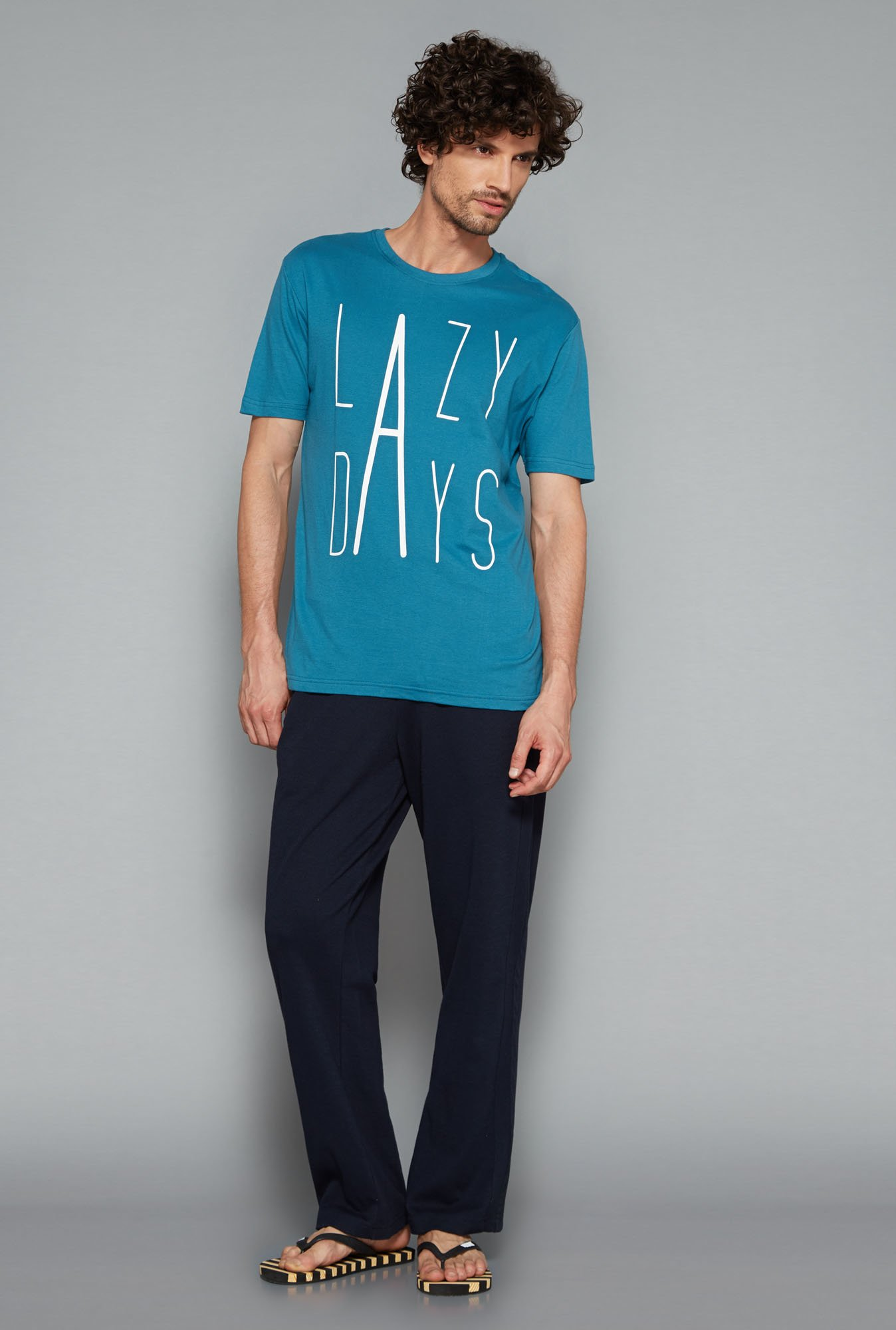 Bodybasics Teal Printed T Shirt
