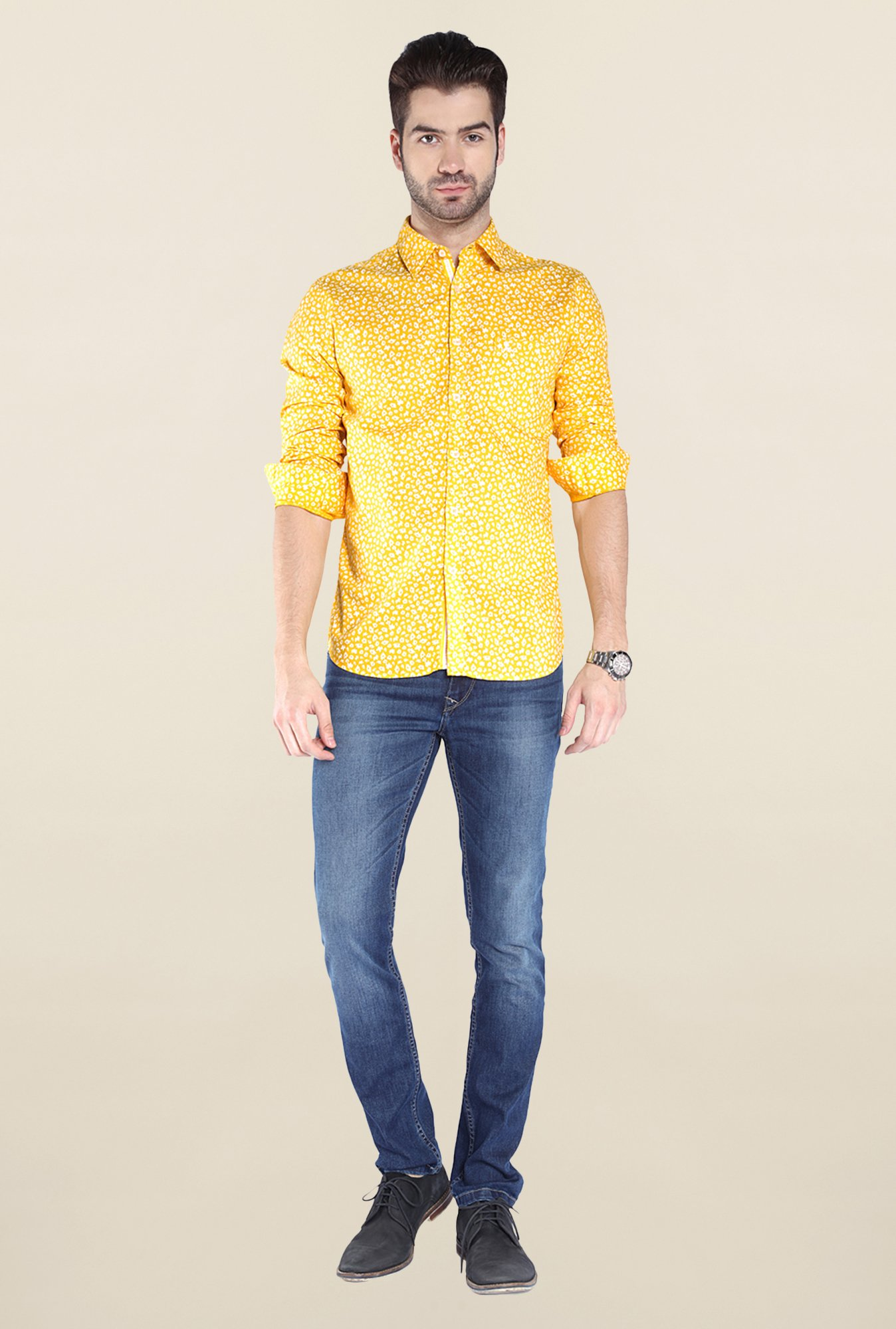 Parx Yellow Printed Shirt