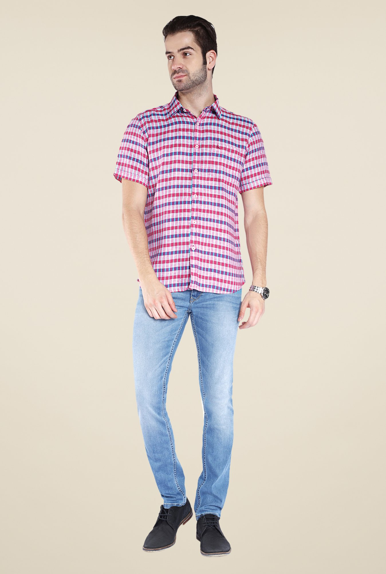 Parx Purple Checks Linen Shirt