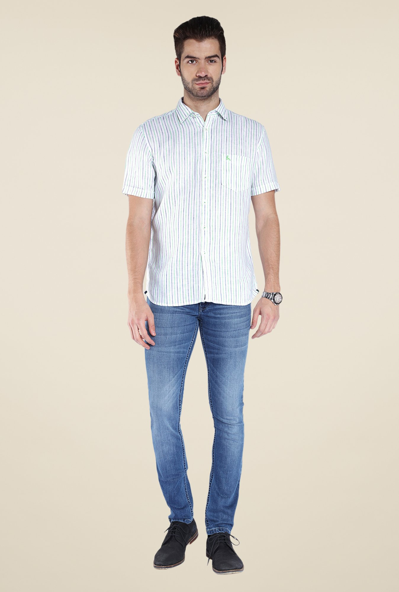 Parx White Striped Linen Shirt