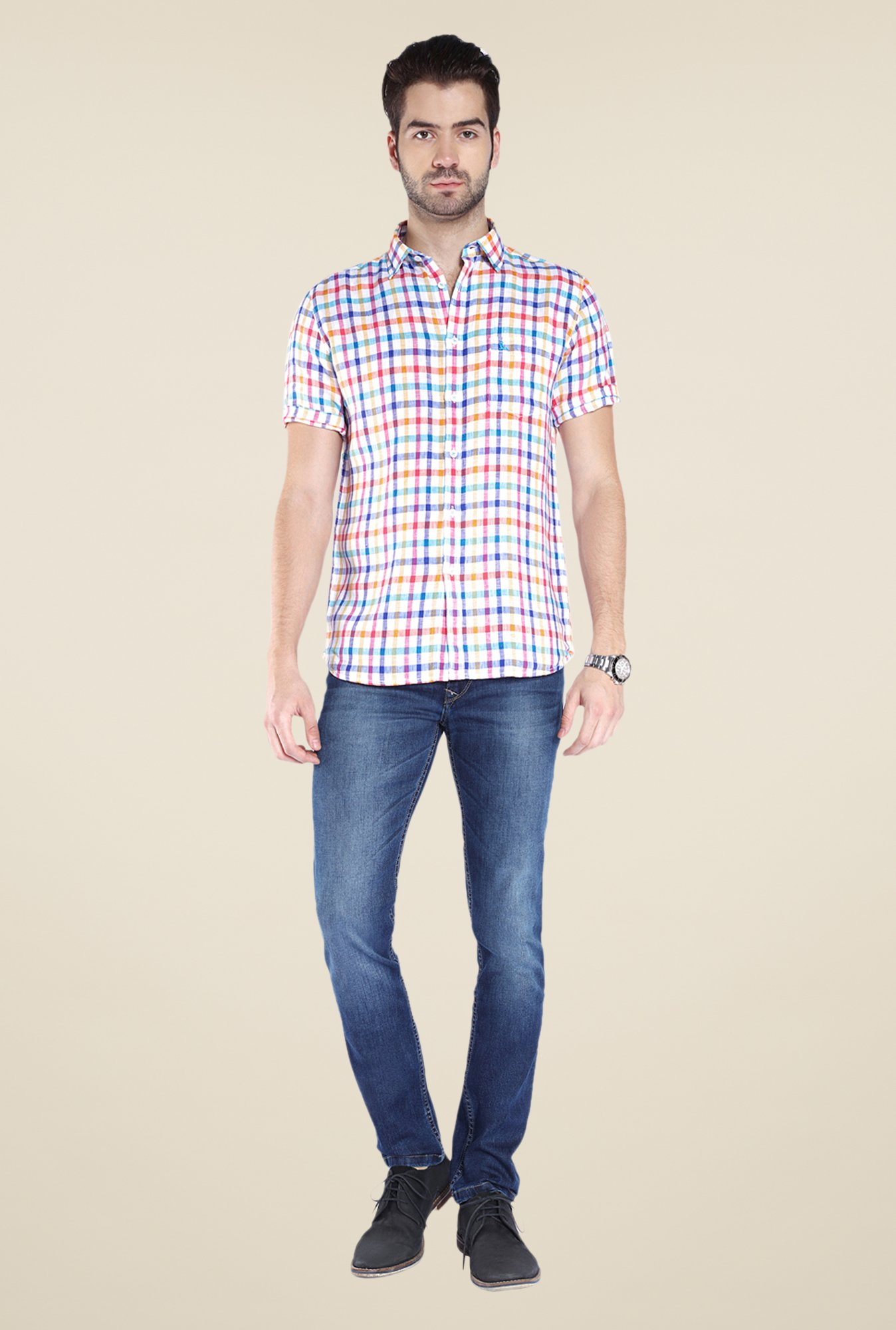 Parx Multicolor Checks Linen Shirt