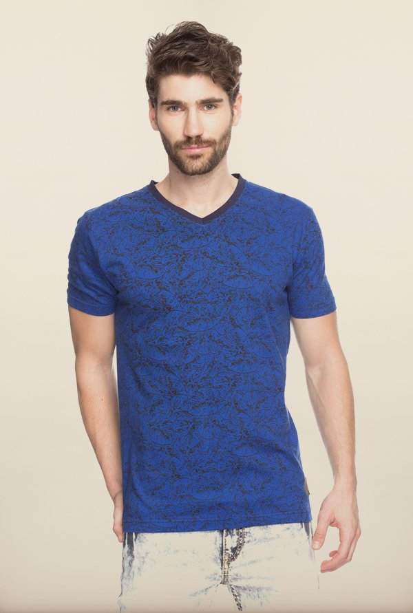 Spykar Royal Blue Printed T shirt