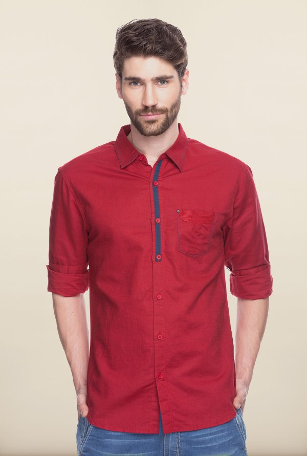Spykar Red Solid Shirt