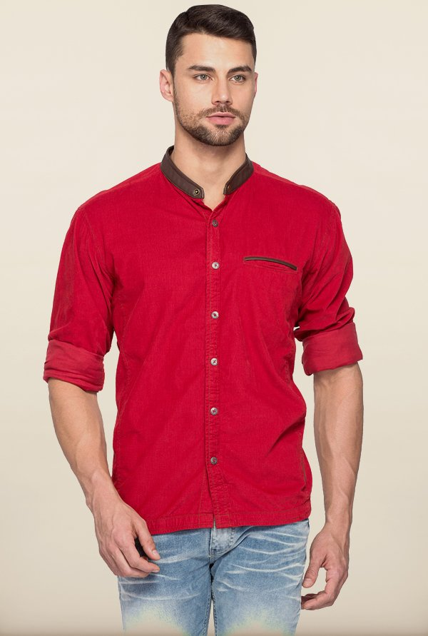 Spykar Red Mandarin Collar Casual Shirt