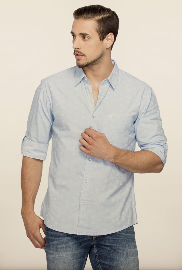 Spykar Sky Blue Printed Casual Shirt