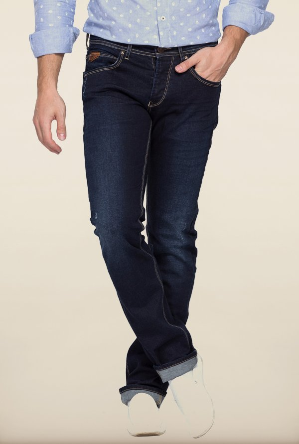 Spykar Dark Blue Washed Slim Fit Jeans