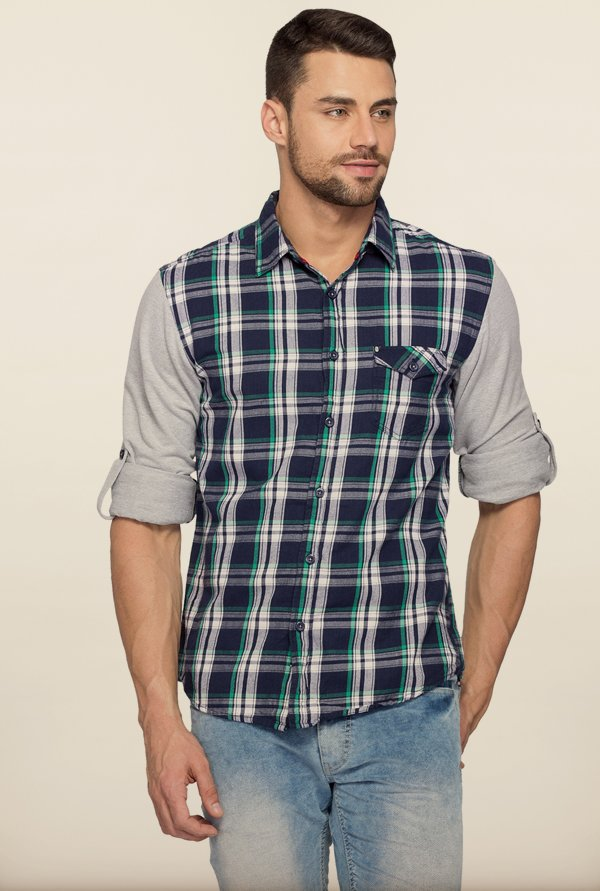 Spykar Navy Checks Cotton Shirt