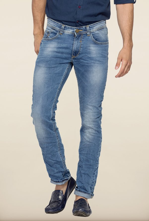 Spykar Light Blue Washed Slim Fit Jeans