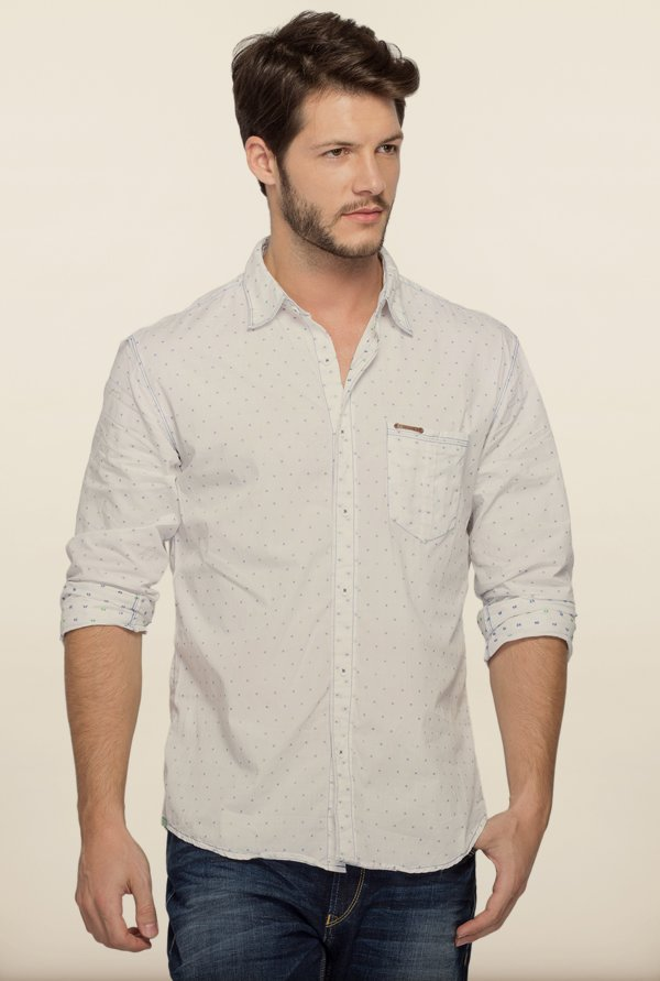 Spykar Ecru Cotton Shirt