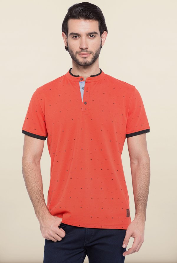 Spykar Orange Slim Fit T shirt