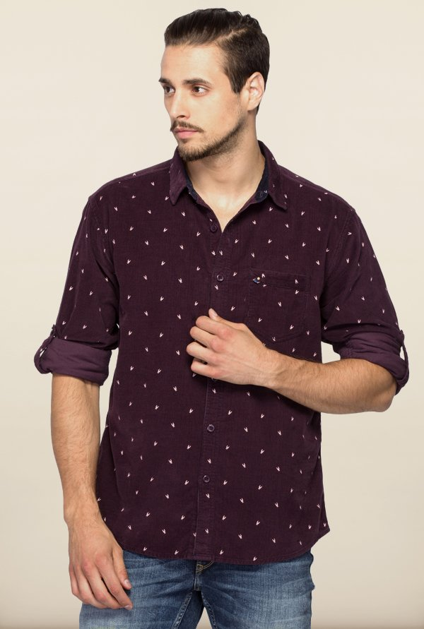 Spykar Purple Printed Regular Fit Shirt