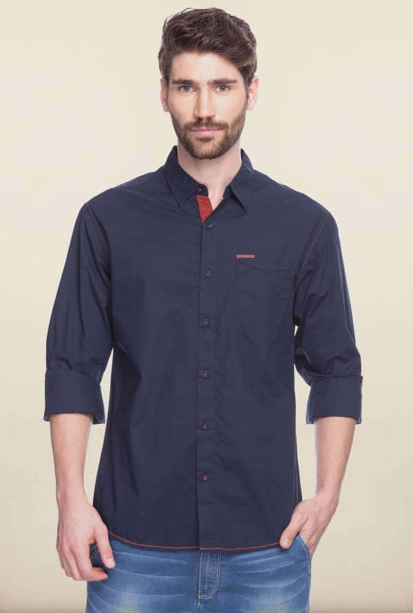 Spykar Navy Solid Casual Shirt