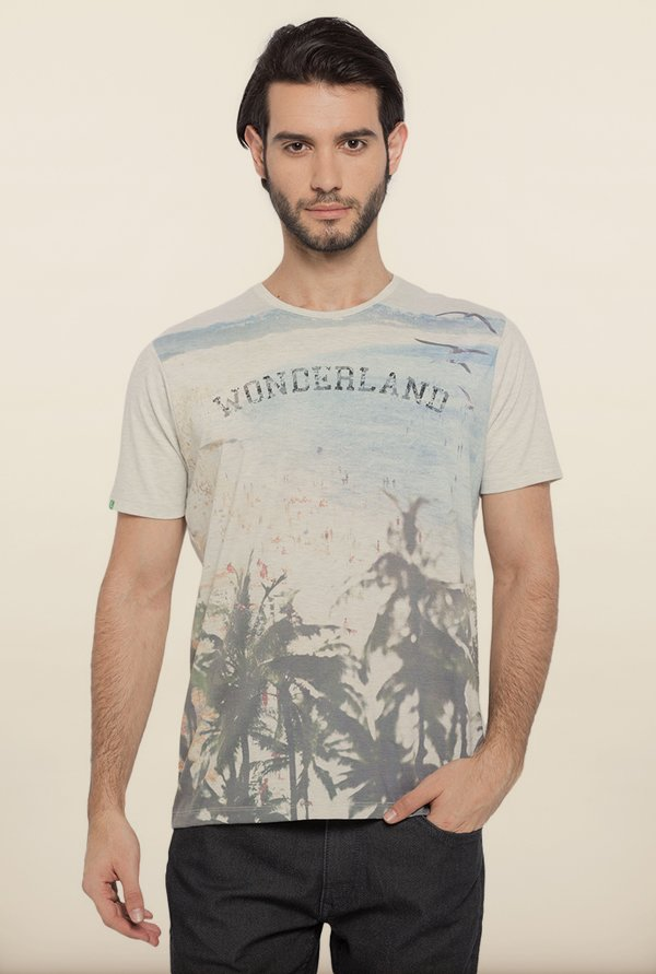 Spykar Beige Graphic Printed T shirt