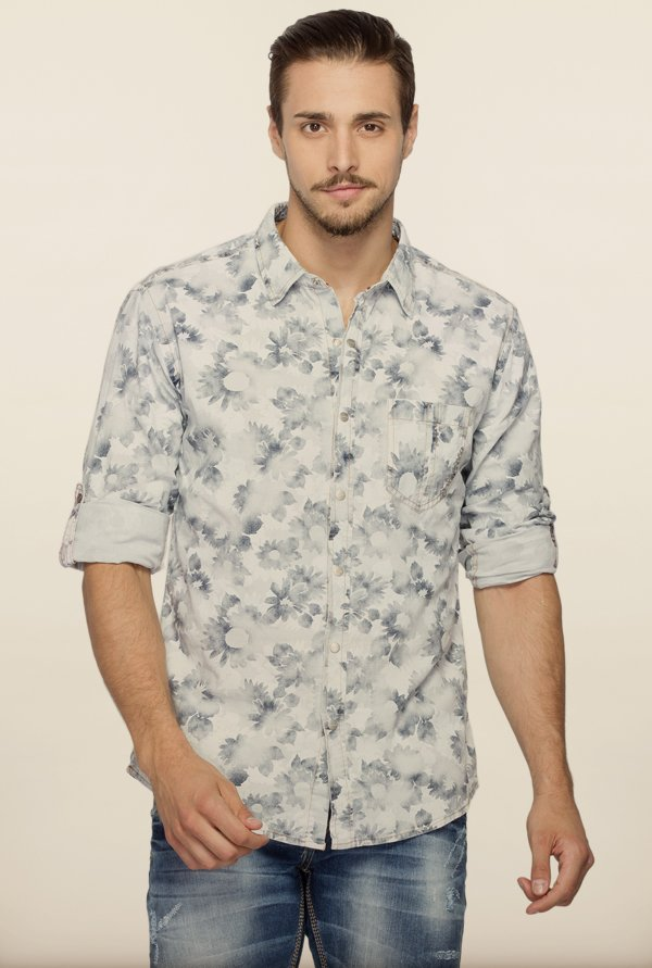 Spykar White Floral Printed Casual Shirt
