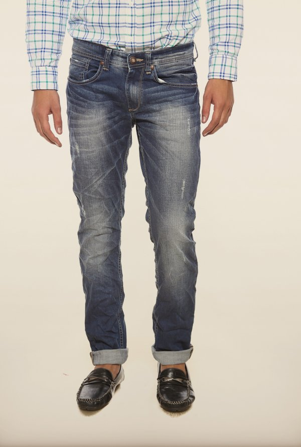 Spykar Blue Low Rise Distressed Jeans