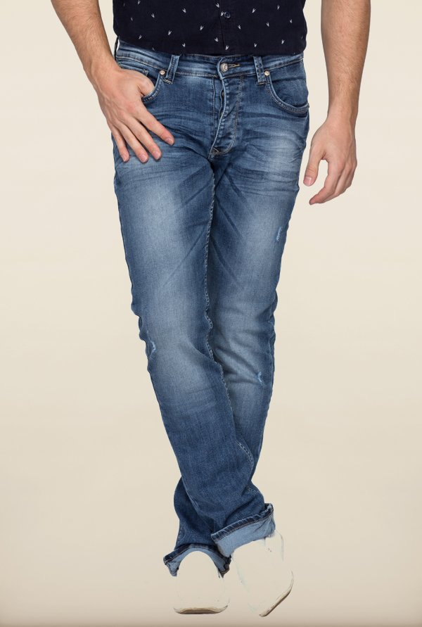 Spykar Blue Slim Fit Distressed Jeans