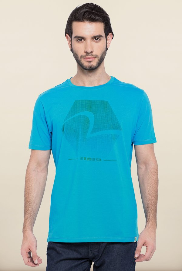 Spykar Turquoise Printed T shirt