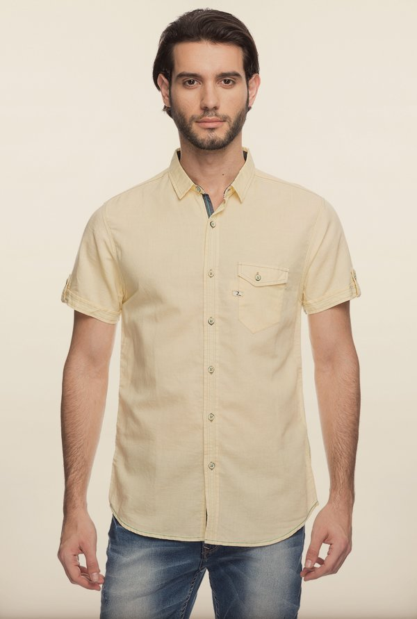 Spykar Yellow Solid Casual Shirt
