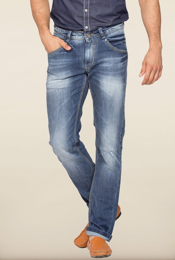 Spykar Blue Distressed Low Rise Jeans