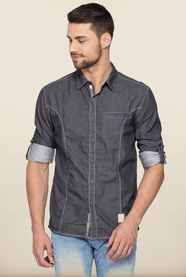 Spykar Charcoal Solid Casual Shirt