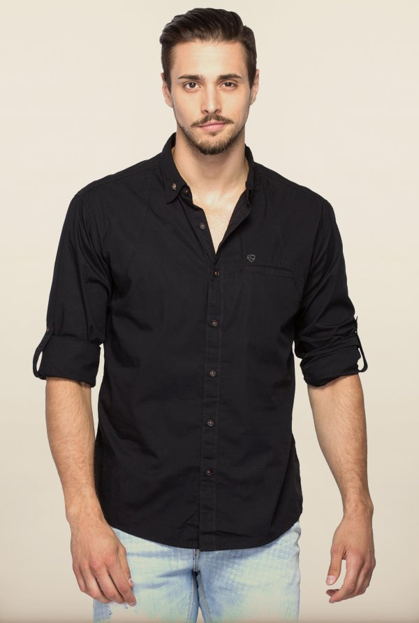 Spykar Black Solid Regular Fit Shirt