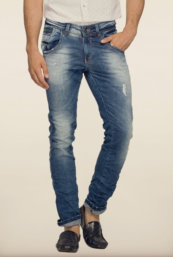 Spykar Blue Distressed Skinny Fit Jeans