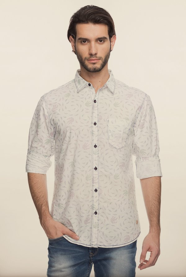 Spykar White Printed Casual Shirt