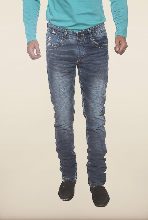 Spykar Blue Washed Denim Jeans