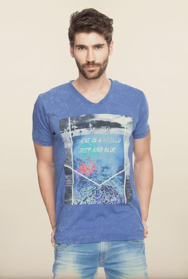 Spykar Blue Graphic Printed T shirt