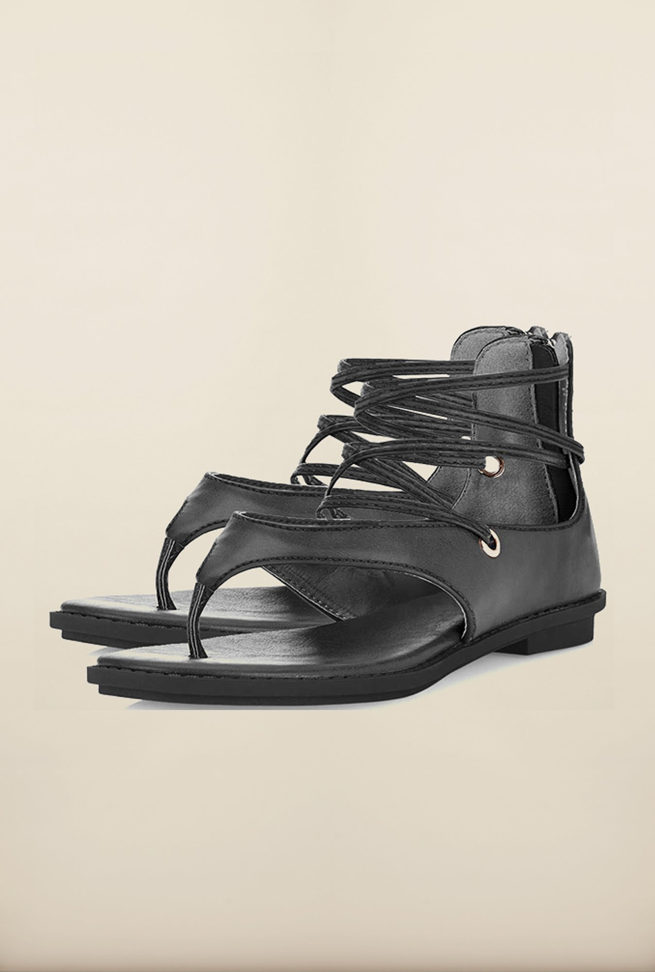 Tresmode Reparis Black Flat Sandals