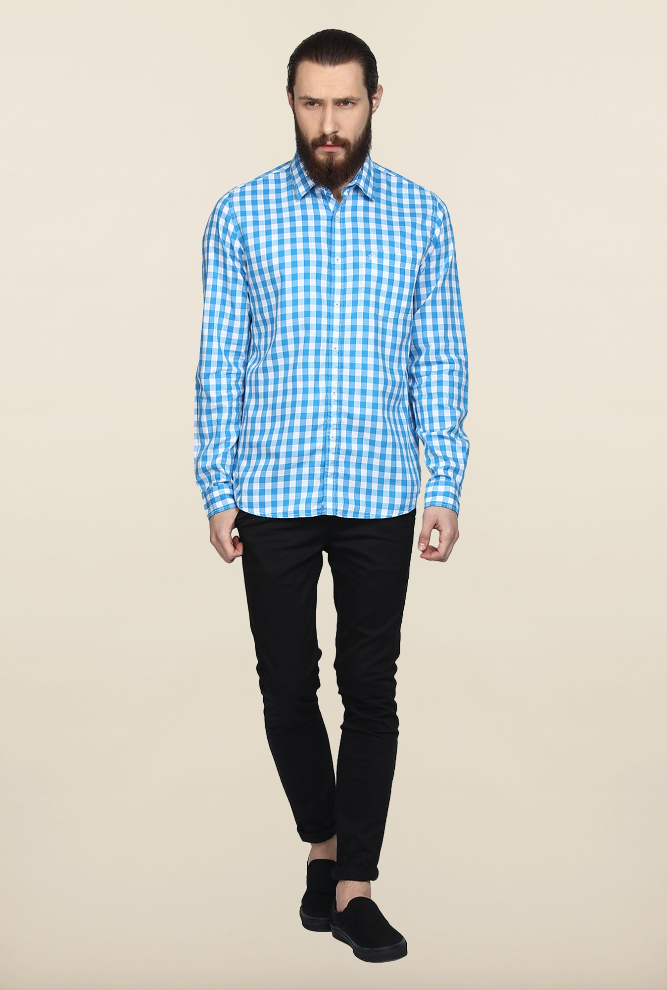 Turtle White And Blue Checks Casual Shirt