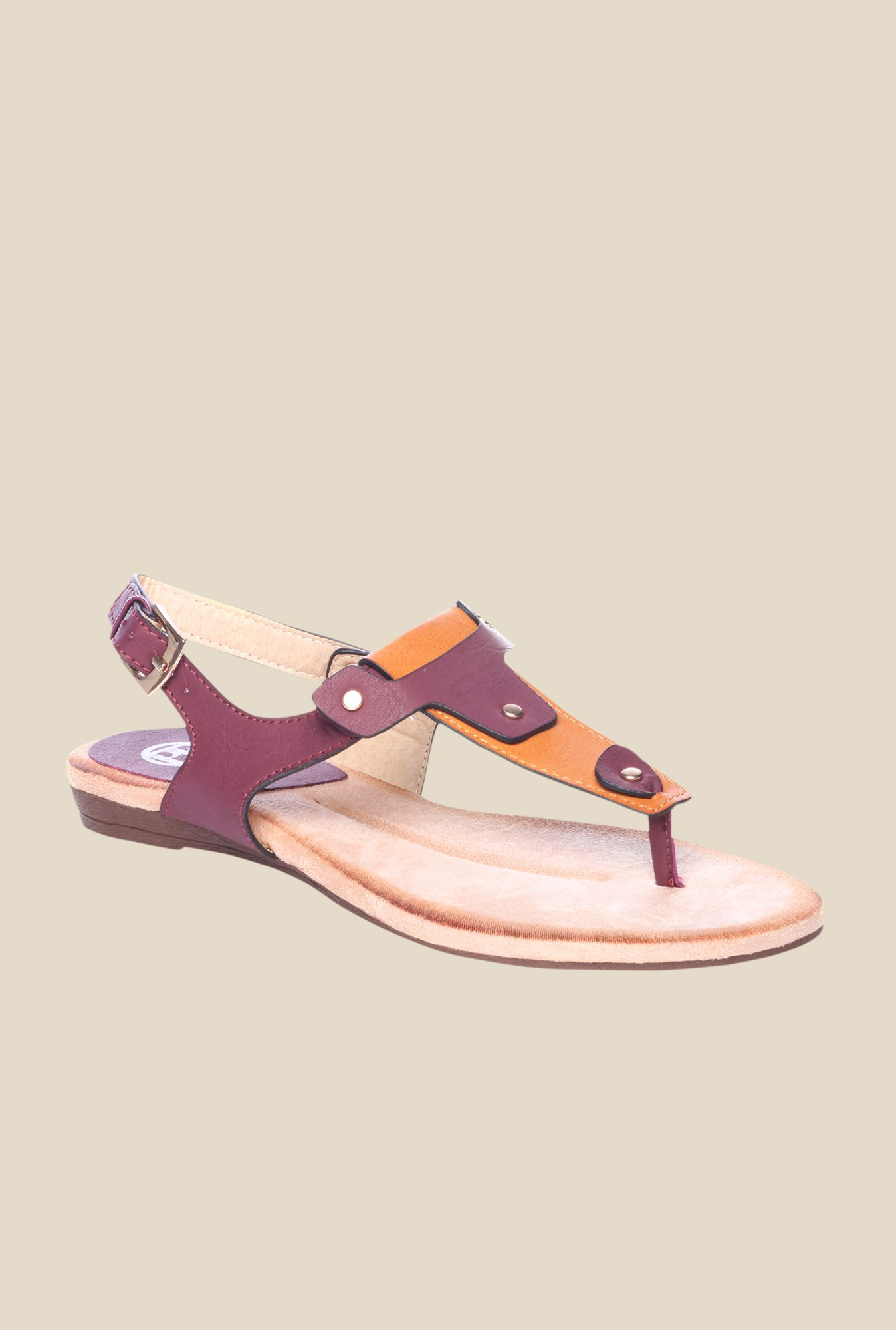 Pavers England Burgundy & Tan Back Strap Sandals