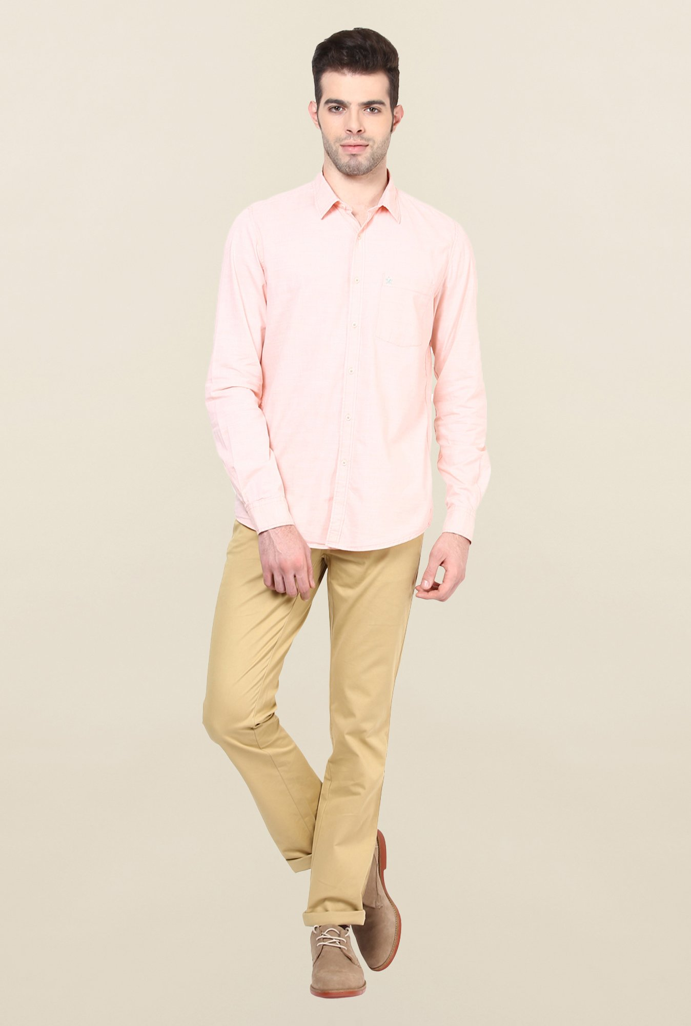 Turtle Pink Textured Casual Shirt