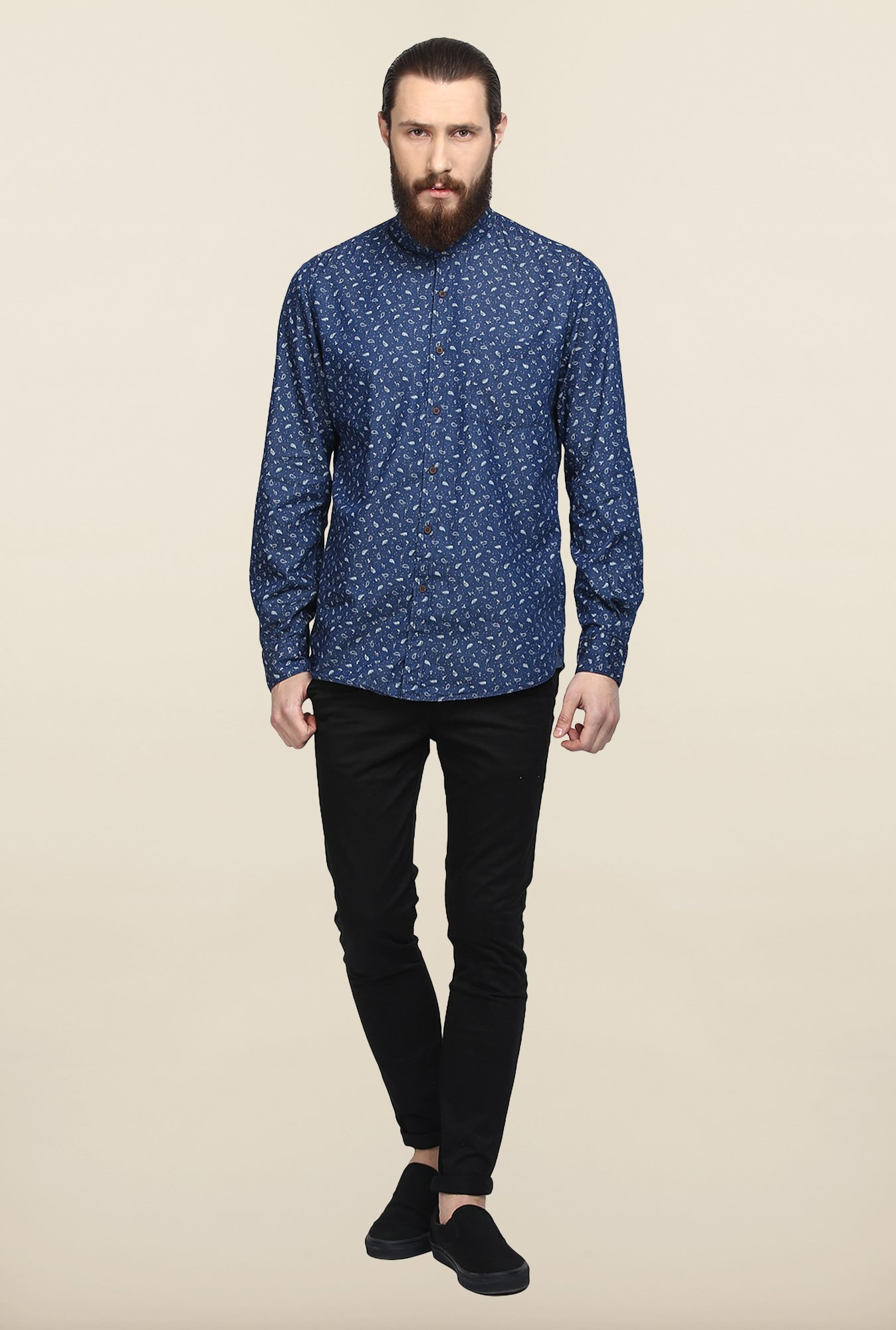 Turtle Blue Paisley Print Casual Shirt