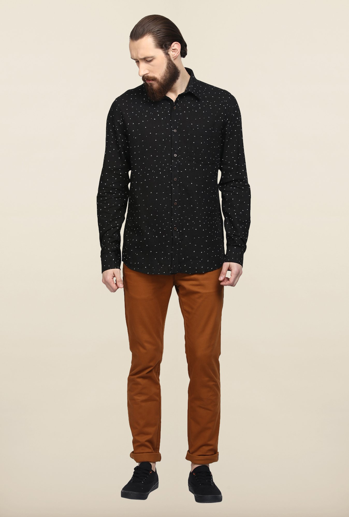 Turtle Black Printed Khadi Casual Shirt