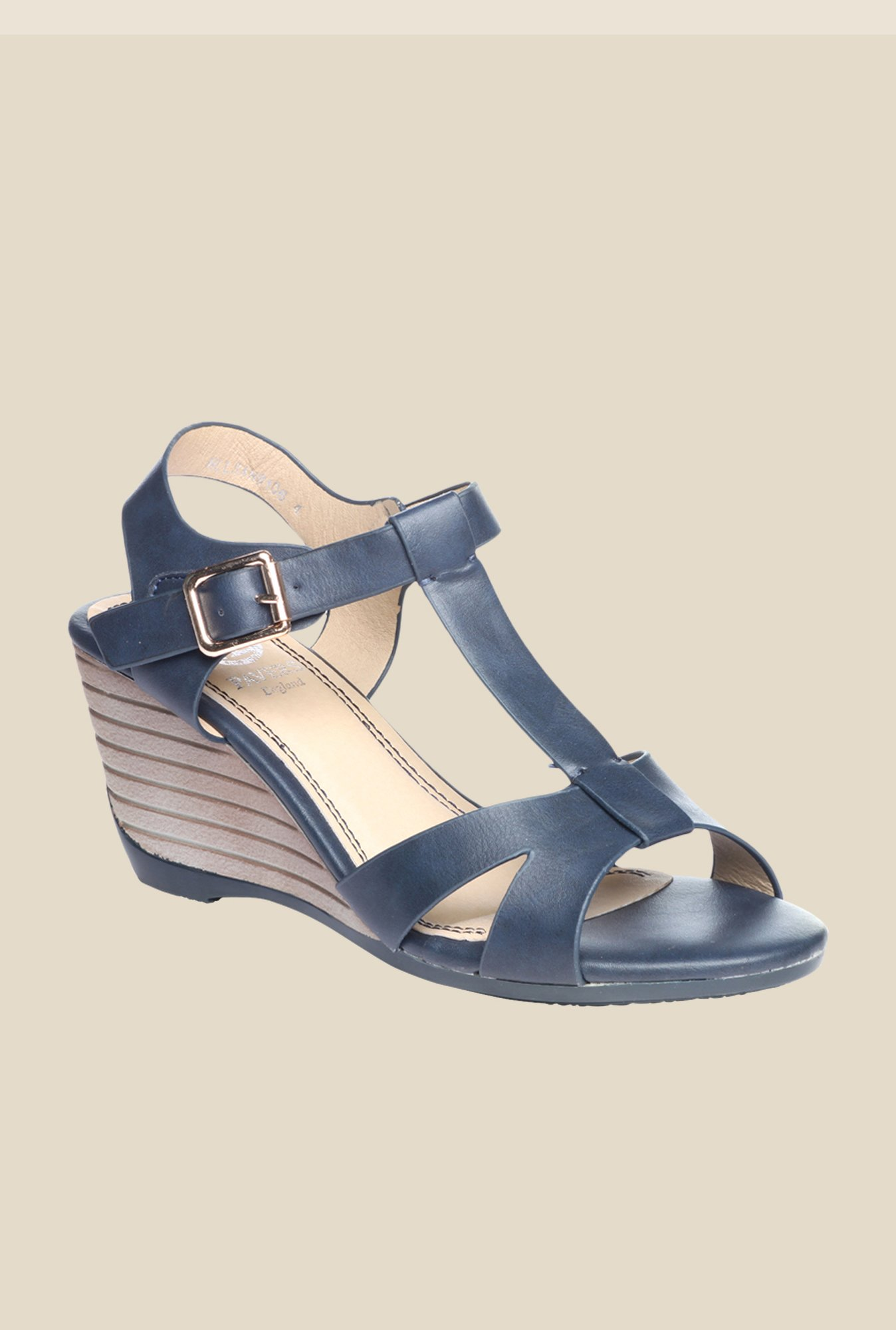 Pavers England Navy Ankle Strap Wedges
