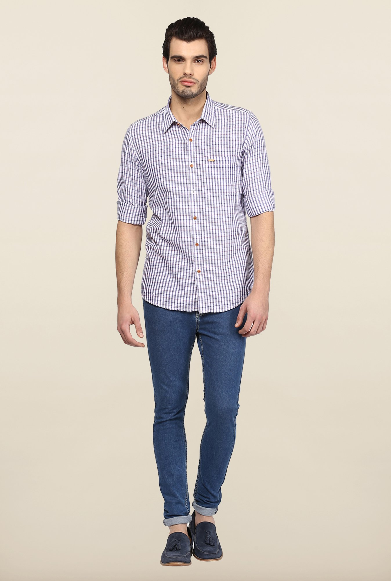 Turtle Purple & White Checks Casual Shirt