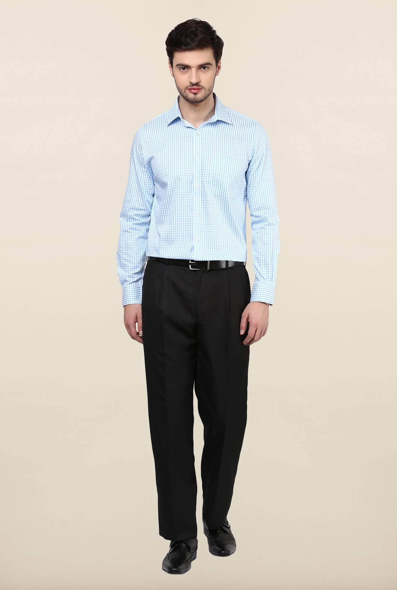 Turtle Light Blue Checkered Formal Shirt