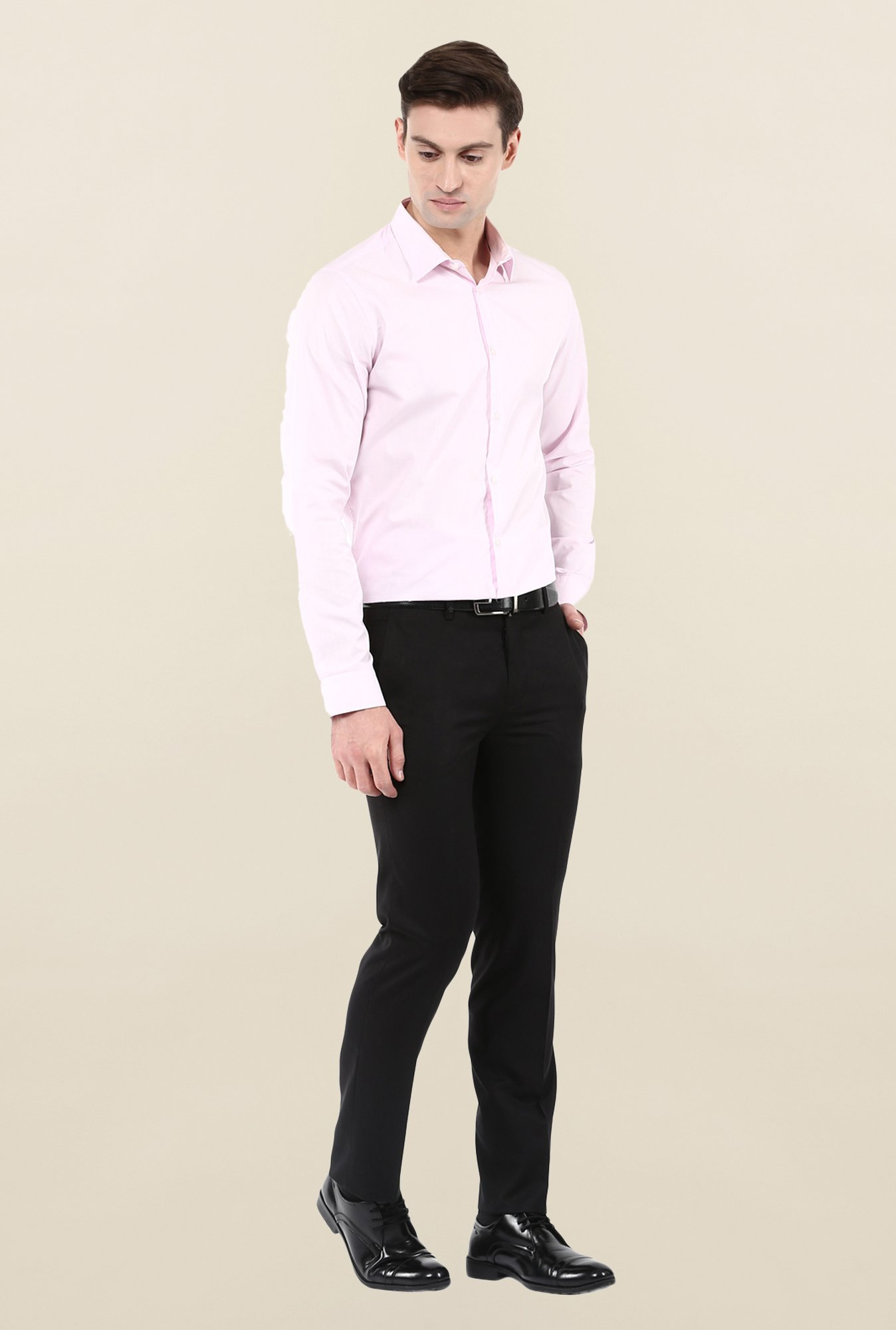 Turtle Solid Black Formal Trouser