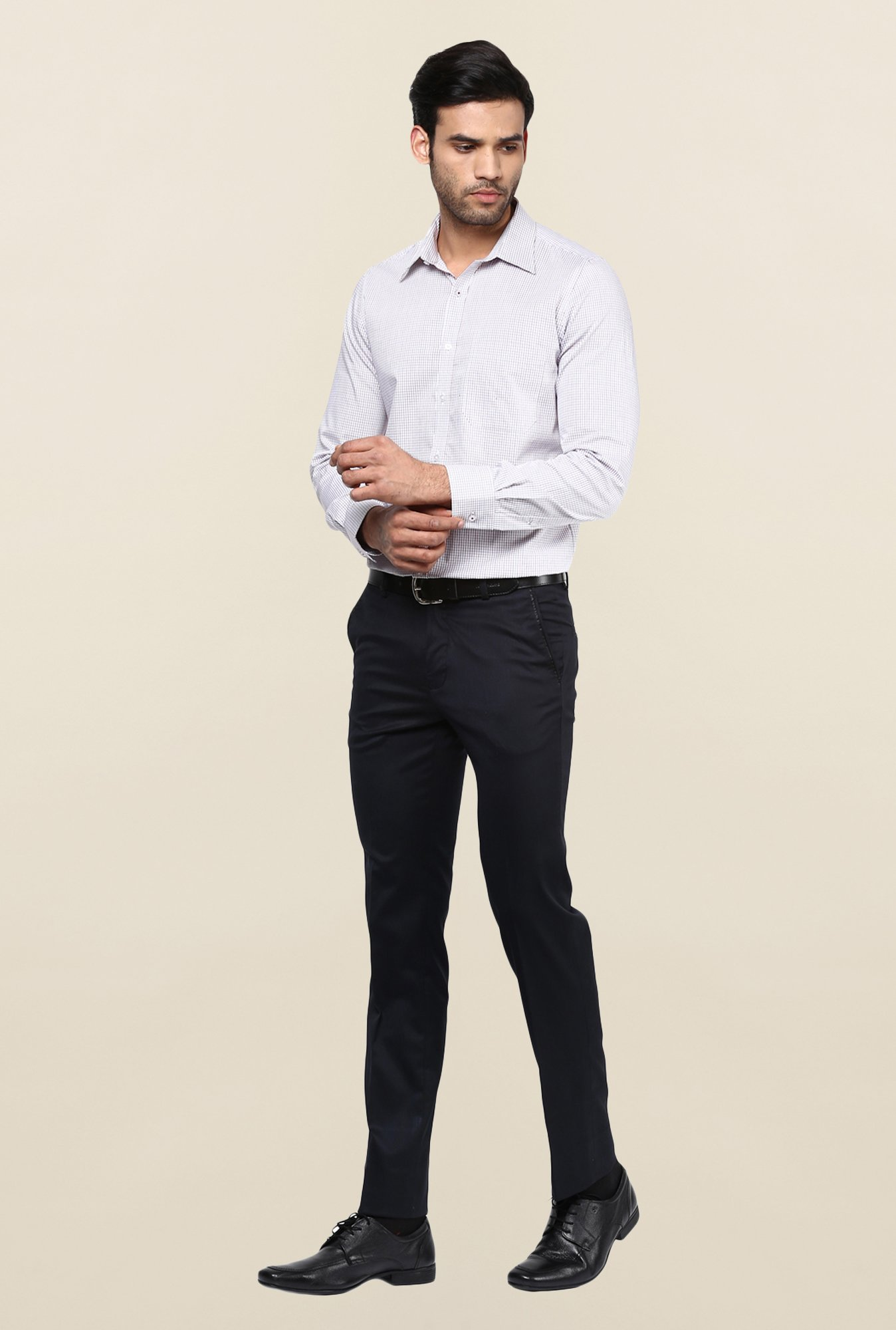 Turtle Navy Textured Formal Trouser