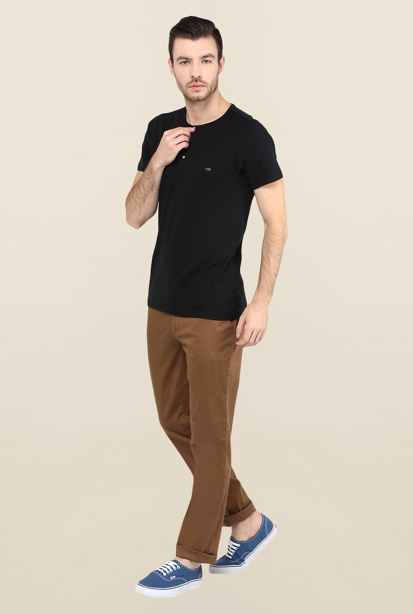 Turtle Solid Brown Casual Trouser