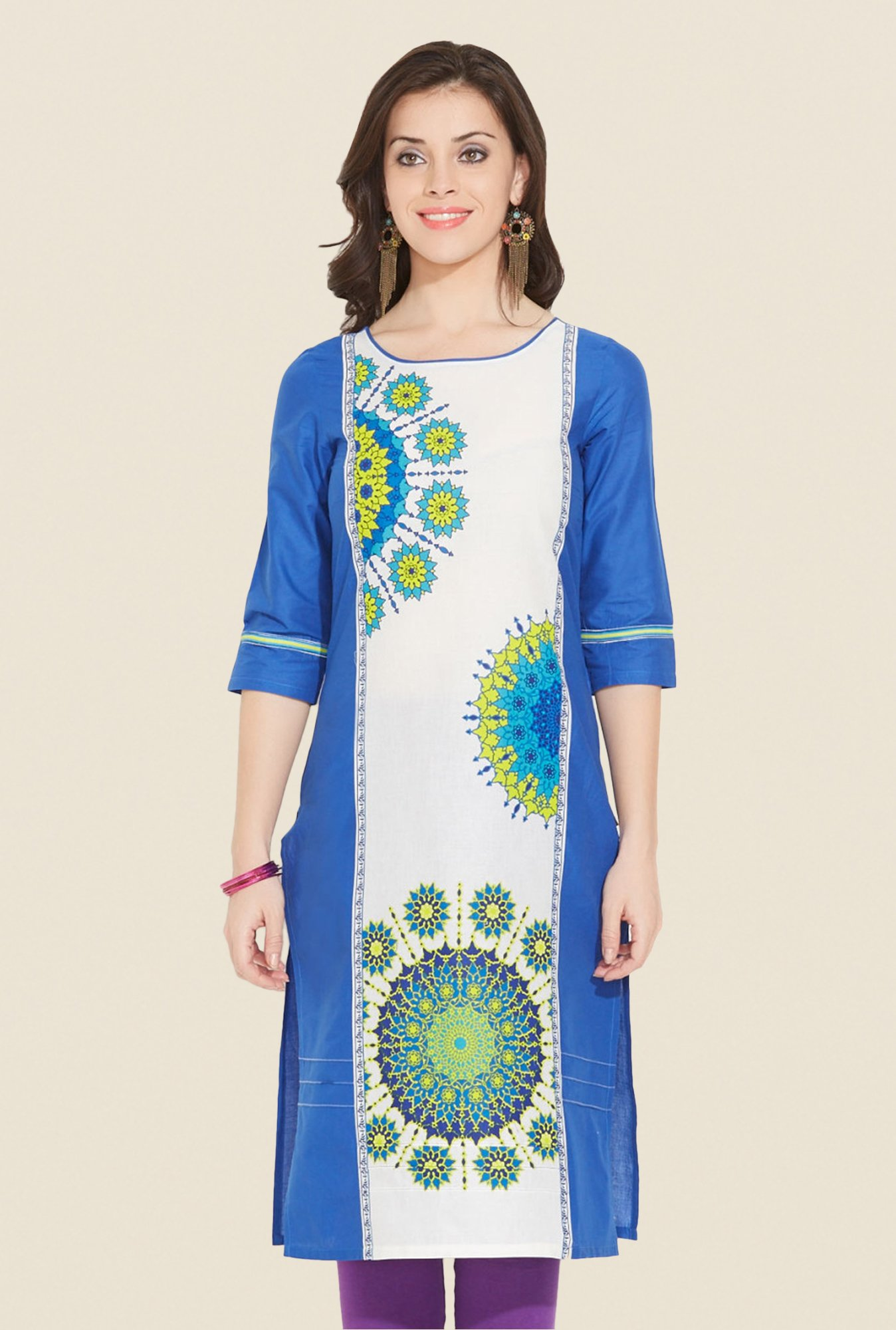 Aurelia Navy Cotton Printed Kurta