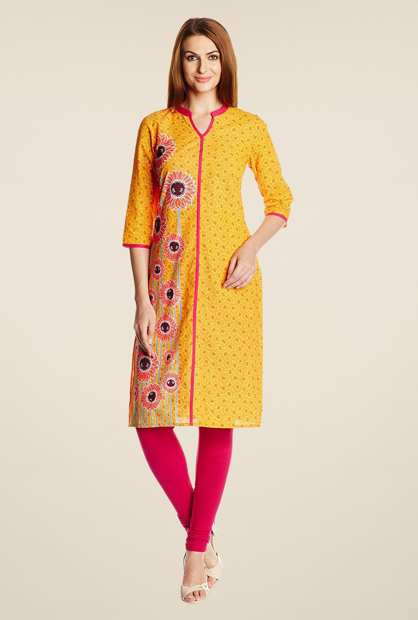 Aurelia Yellow Band Neck Printed Kurta
