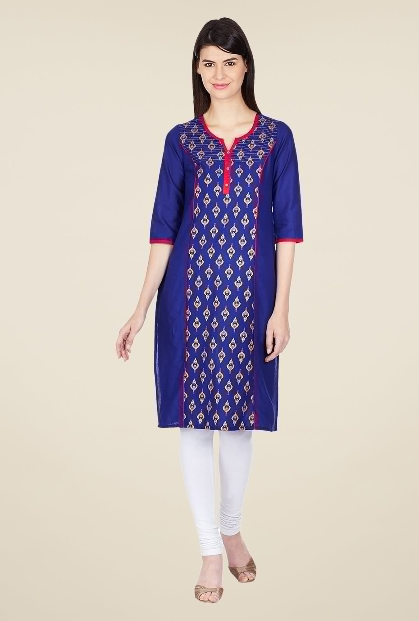 Aurelia Blue Bandhani Printed Cotton Kurta