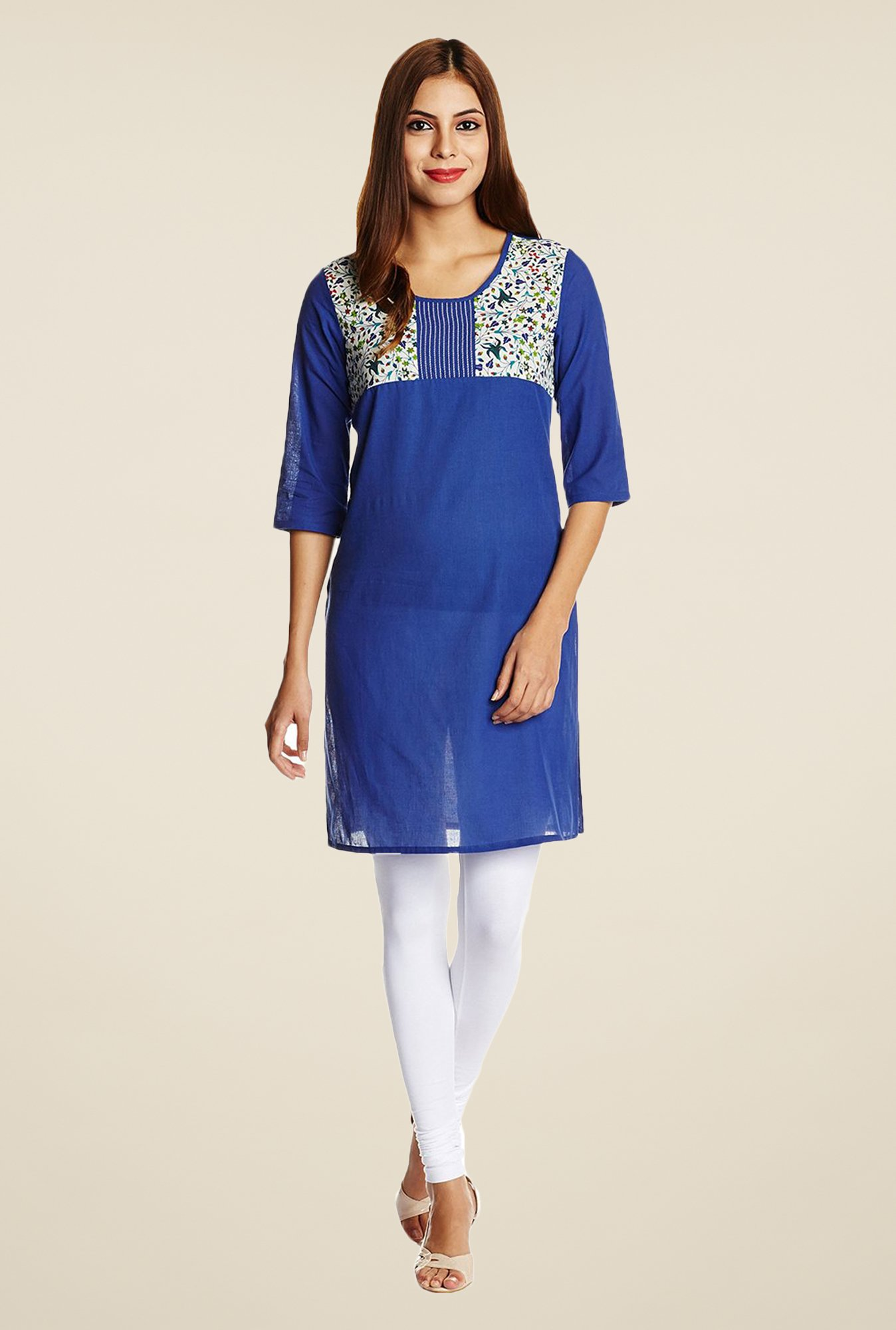 Aurelia Navy Cotton Kurta